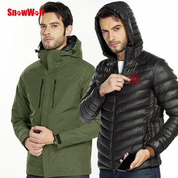 Snowwolf 2019 Men Winter Outdoor Snowboard Jacket USB Infrared Heated Hooded Ski Jacket Electric Thermal Clothing Coat For Mens snowwolf 2019 men winter ski suit usb heated hooded jacket male outdoor waterproof windproof breathable thermal snowboard coat