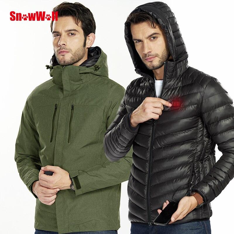 Snowwolf 2019 hommes hiver veste de Snowboard en plein air USB infrarouge chauffé à capuche veste de Ski électrique thermique vêtements manteau pour hommes