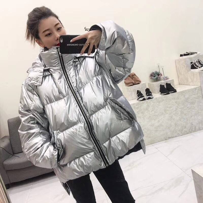 Oversized down jacket thicken white duck down coat women winter hooded parka coats silver/black shiny down jacket warm overcoat