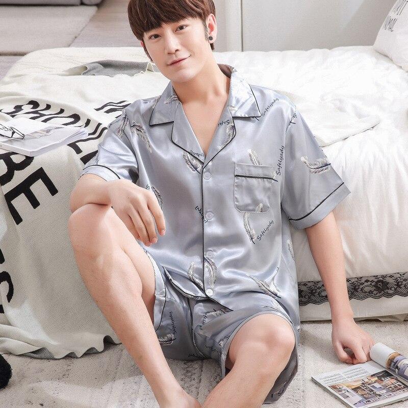 Satin Silk Pajamas Shorts For Men Summer Sleepwear Male Pajama Set Soft Nightgown For Men Pyjamas Sleep Lounge Big Size L-3XL