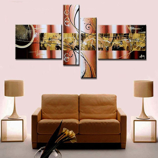 4pcs TBM ART Coffee Color Textured Handmade Modern Abstract Canvas Wall Art Gift for Living Room Decoration No Frame Z061