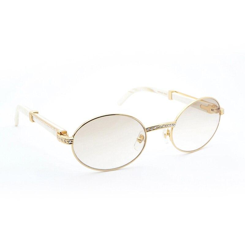 85859e78e7 Details about Luxury Buffalo Horn Sunglasses Men Rhinestone Round Carter  Sun Glasses Golden