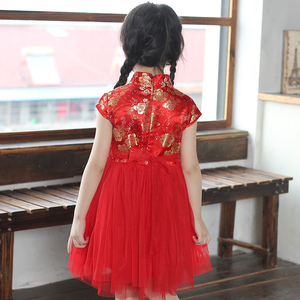 Image 2 - בנות שמלות קיץ 2017 ילדים שמלות בנות הסיני cheongsam תינוק אלגנטי בגדים סיניים מסורתי עבור ילד