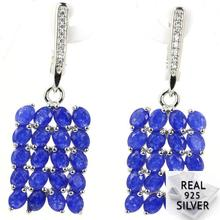 Real 6.0g 925 Solid Sterling Silver Deluxe Blue Sapphire Cubic Zirconia Wedding Earrings 40x13mm