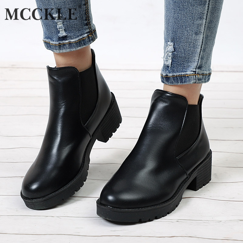 MCCKLE Women Ankle Boots Platform Elastic Band Chunky Heel Shoes Female Slip On Short Boot Autumn Mid Heels Shoe For Ladies mcckle 2017 ladies fashion sexy autumn winter ankle boots female slip on zip black solid platform high heels plus size34 43