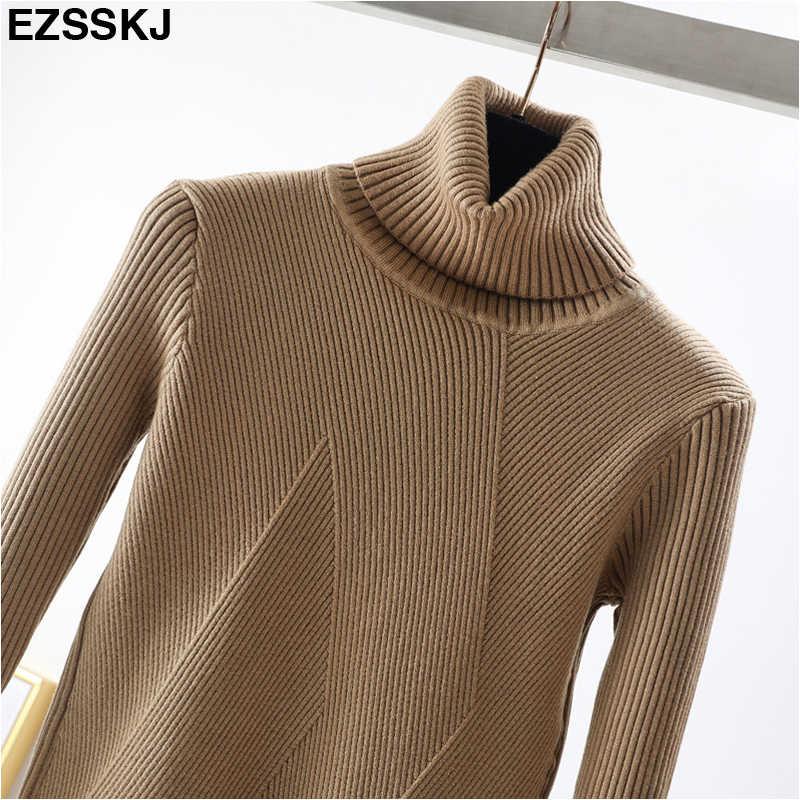 Chic Herbst winter dicke Pullover Pullover Frauen Langarm casual warmen grund rollkragen Pullover weibliche knit Jumper top