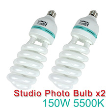 2pcs 150W E27 5500K CFL Photography Lighting Video Bulb Daylight Balanced Energy Saving fluorescent Lamp