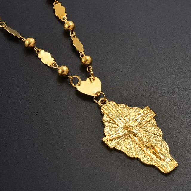 Anniyo זהב צבע צלב תליון כדור חרוזים שרשרת שרשראות גברים נשים הוואי מיקרונזיה Chuuk מרשל תכשיטי צלבים #192306