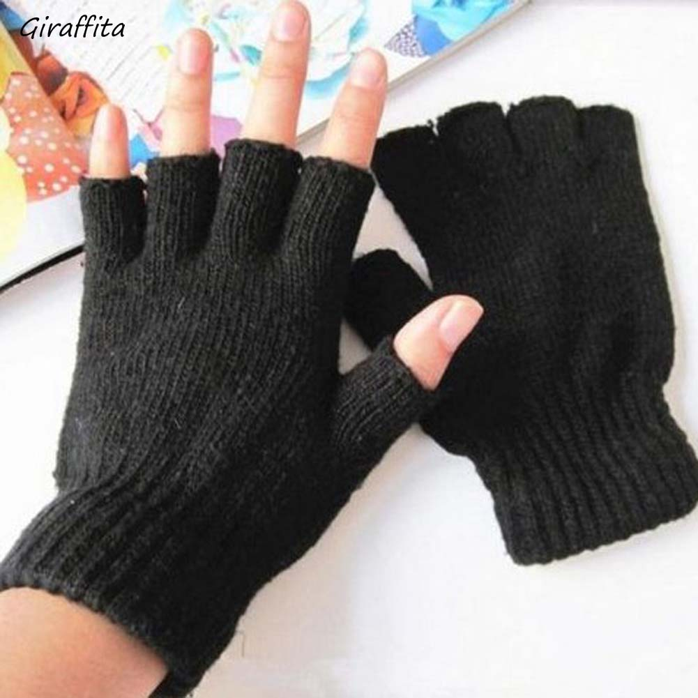 New Fashion Black Short Half Finger Fingerless Wool Knit Wrist  Glove Winter Warm Workout Gloves For Women And Men