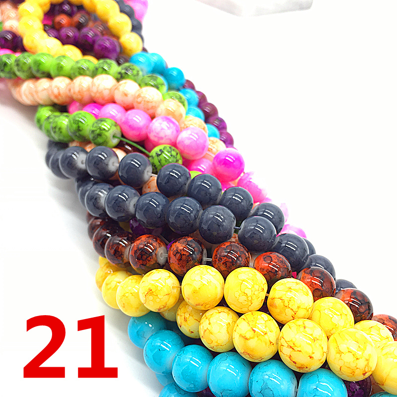 NEW 4 /6 /8 /10 Mm Color Mixing Chic Glass Loose Spacer Charm Beads Pattern DIY Jewelry Making Accessory