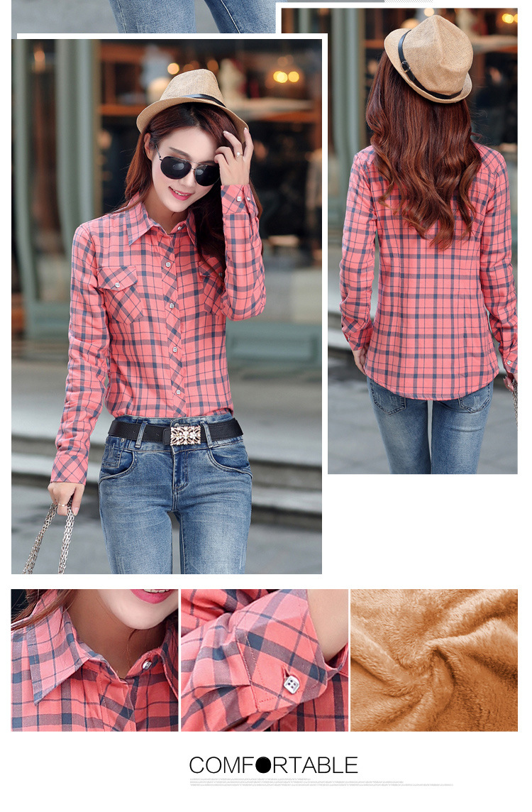 19 Brand New Winter Warm Women Velvet Thicker Jacket Plaid Shirt Style Coat Female College Style Casual Jacket Outerwear 41