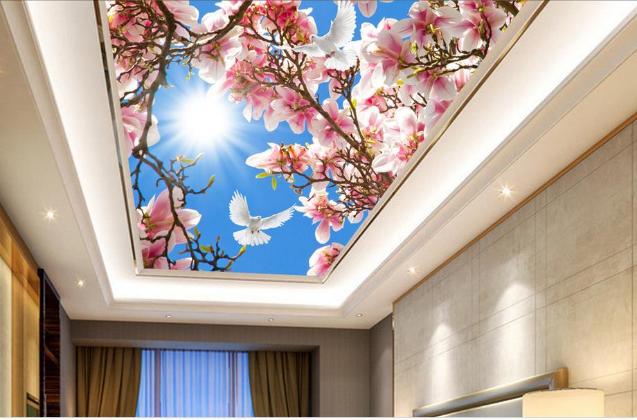 custom 3d ceiling photo Sky peach butterfly 3d wallpaper on the ceiling luxury wallpaper 3d ceiling murals  for living room high definition sky blue sky ceiling murals landscape wallpaper living room bedroom 3d wallpaper for ceiling
