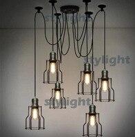 LOFT lamp American Country style lighting Vintage CAGE FILAMENT PENDANT industrial light Edison filament bulb 6 pcs chandeliers