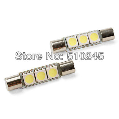 100X Car Auto LED 31mm T6.3 3 led smd 5050 LED Light Bulb Lamp White blue yellow green red free shipping