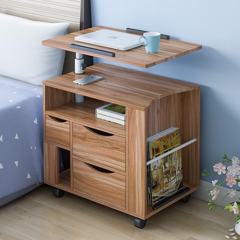 Минималистский сплошной цвет с кабинетом Ноутбук деревянный стол съемный лифт кровать сбоку стол тумбочке стола мебель ...