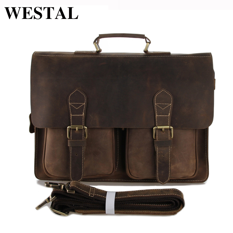 WESTAL Crazy horse genuine leather men bags briefcases handbag shoulder crossbody bag men messenger bags leather laptop bag crazy horse leather in totes bag men briefcases handbag messenger bag portfolio laptop 7164r