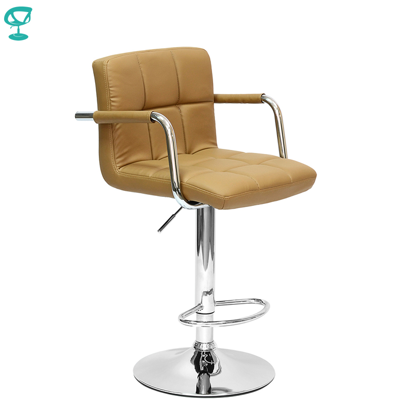 94359 Barneo N-69 Leather Kitchen Breakfast Bar Stool Swivel Bar Chair Light Brown Color Free Shipping In Russia