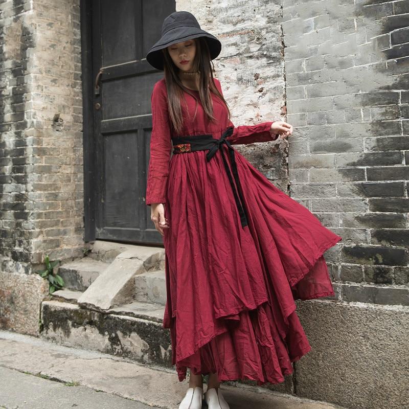 Johnature Vintage Maxi Dress 2019 New Spring Loose Solid Wrist Pockets Ankle length Regular O neck