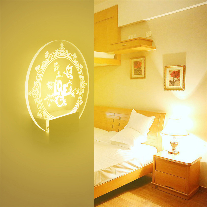 Super Acrylic Love LED With Wire Wall Mount Cabinet Lamp Led Art Lamp Gift Home Decor 170529 Drop shipping