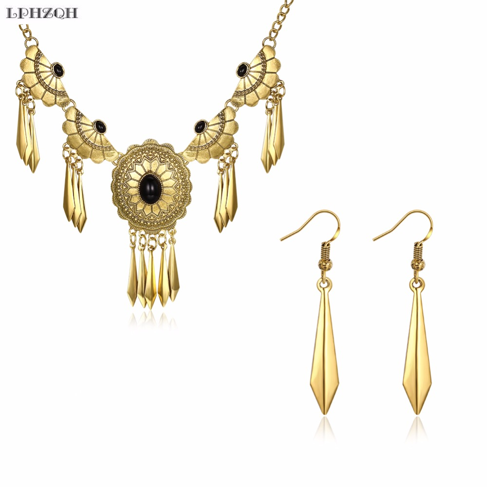2018 Wedding Set Luxurious Jewelry Necklace Earring Gold Color Arab Bridal Middle East Turkey Egypt Jewelry Acessories B-0061