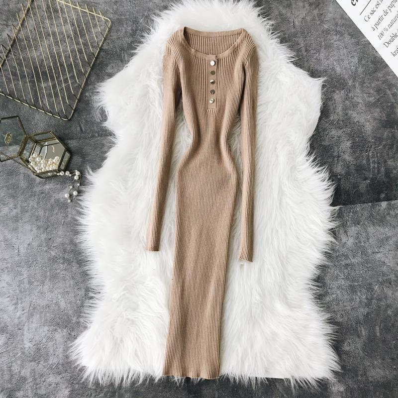 2019 Spring and Autum Women Sweater Dress Round Neck Long Sleeves Buttons Knitted Hip Knitted Dresses