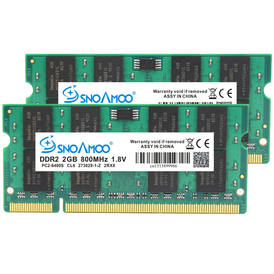 SNOAMOO Laptop RAMs DDR2 2GB 667MHz PC2-5300S 800MHz PC2-6400S 200Pin CL5 CL6 1.8V 2Rx8 SO-DIMM Computer Memory Warranty 5