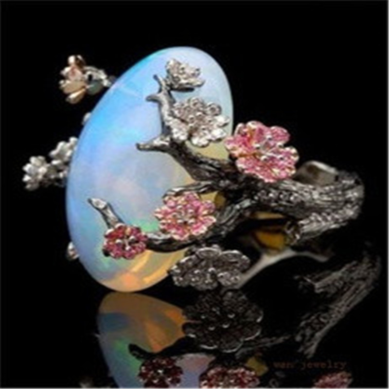 ZHIXUN New Fashion Flower Sliver Vintage Opal Ring for Woman Wedding - Նորաձև զարդեր - Լուսանկար 1
