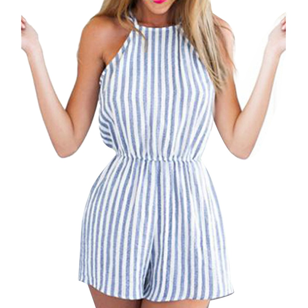 Women Sleeveless Summer Style Beach Rompers Women Jumpsuit Ladies Sexy Vertical Stripe Backless Cutaway Rompers