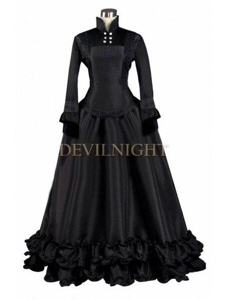 Черный С Длинными Рукавами Готический Викторианской Платье Траур Платья