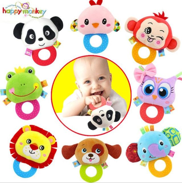 Gift In My Store Animal Cartoon Plush Stuffed Toys Rattle Teether