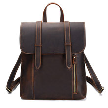 Vintage Women Genuine Leather Backpack Mens Cowhide Backpacks Bag Large School Laptop