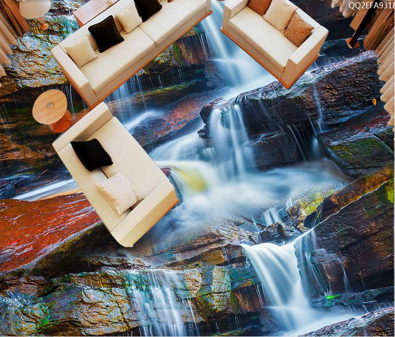 self adhesive wallpaper Custom 3d floor wallpaper Creek stone wallpapers for living room 3d floor stereoscopic wallpaper