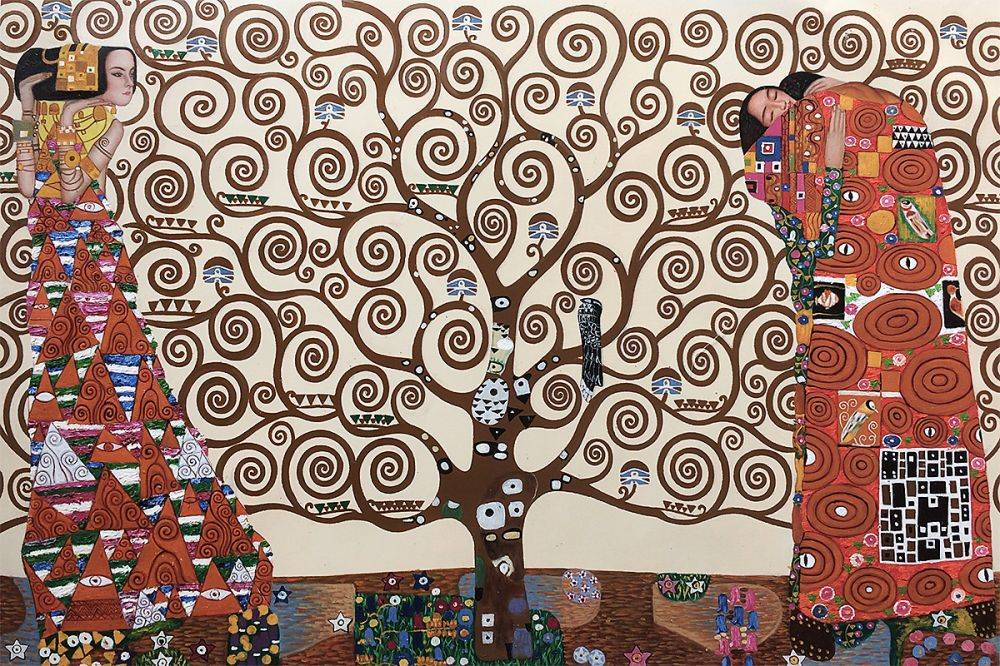 High quality Oil painting Canvas Reproductions The Tree of Life, Stoclet Frieze, 1909  by Gustav Klimt Painting hand paintedHigh quality Oil painting Canvas Reproductions The Tree of Life, Stoclet Frieze, 1909  by Gustav Klimt Painting hand painted