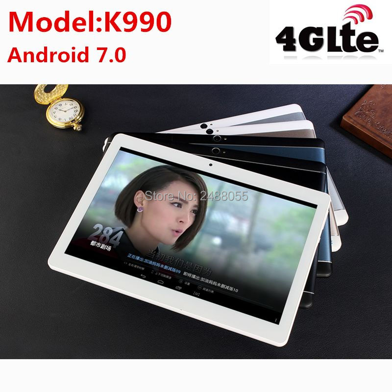 2018 K990 Octa Core 10.1 Pouce tablet MTK8752 Android Tablet 4 GB RAM 64 GB ROM Dual SIM Bluetooth GPS Android 7.0 10 Tablet PC