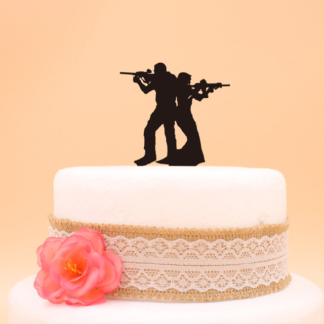 Funny Soldier Cake Topper The Bride and Groom Wedding Cake Topper ...