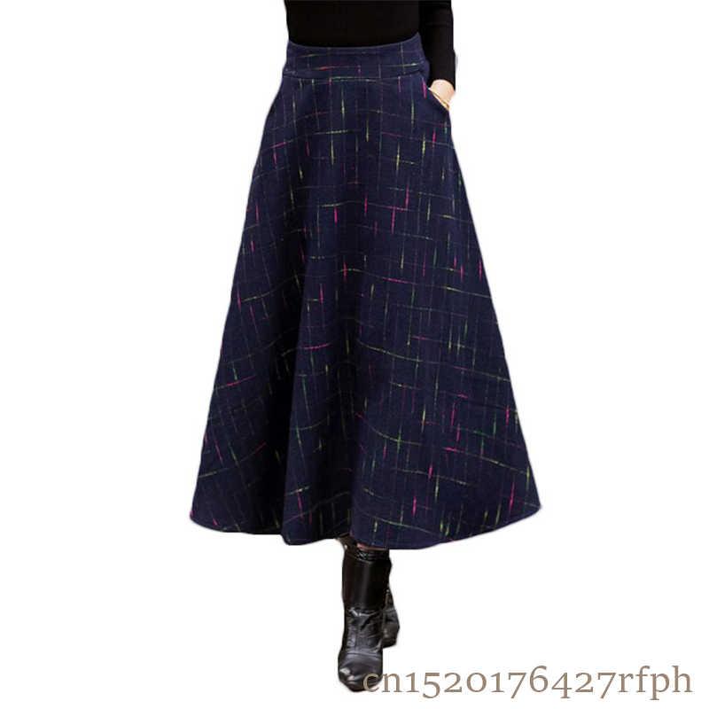 729e11d04d 2018 Autumn Winter Skirt Faldas Largas Jupe Longue High Waist Vestidos Long  Warm Plaid Skirts Dames