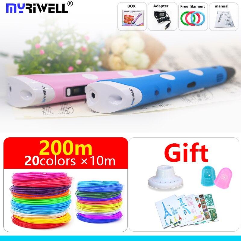 Myriwell 3d stylo le plus populaire nouvelle magie 3d imprimante stylo 3d stylos arts bricolage cadeaux pour enfants 1.75mm ABS/PLA filament 3d stylo d'impression
