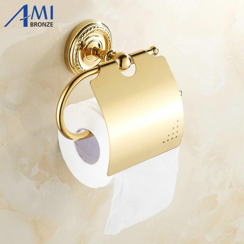 GOLDEN Copper Toilet Paper Holder Paper Rack Gold Plated Towel Rack Bathroom accessories hardwares  7002G