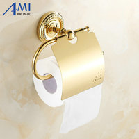 GOLDEN Copper Toilet Paper Holder Paper Rack Gold Plated Towel Rack Bathroom accessories hardwares 7002G