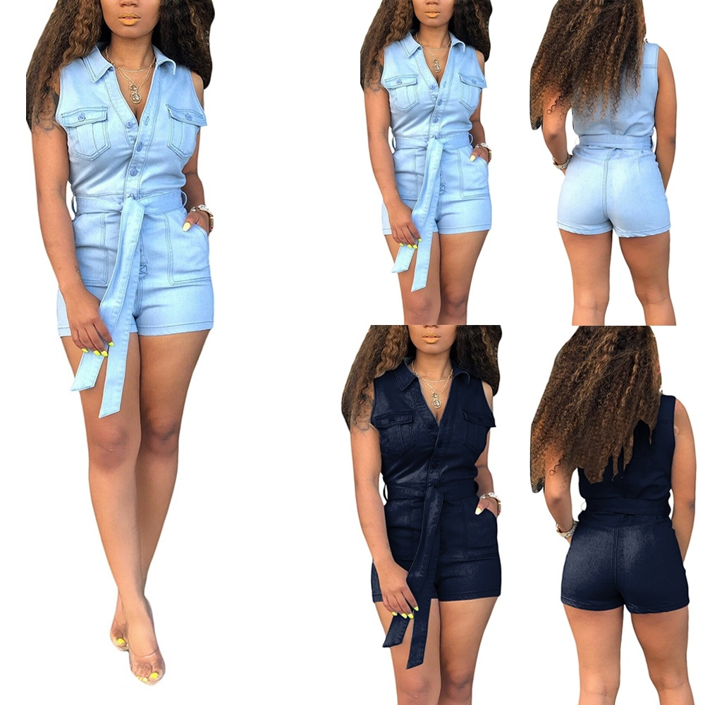 2colors Women 39 s Fashion Summer Cotton Solid Color Sleevess Denim Romper Shorts for Women Denim Overalls for Holiday S 3XL in Rompers from Women 39 s Clothing