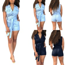 2colors Women's Fashion Summer Cotton Solid Color Sleevess Denim Romper Shorts for Women Denim Overalls for Holiday S-3XL preppy style solid color denim women s overalls