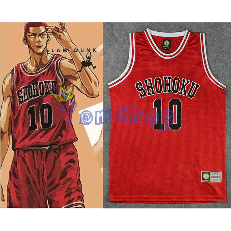 SLAM DUNK Cosplay Shohoku School Basketball Team #10 Sakuragi Hanamichi Jersey Tops Shirt Sports Wear Uniform Size M L XL XXL