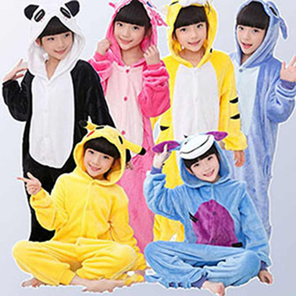 58e5e8d16c 2018 New Flannel Baby Boys Girls Pajamas Animal Unicornio Stitch Dinosaur  Panda Pyjamas Kids Sleepwear cosplay