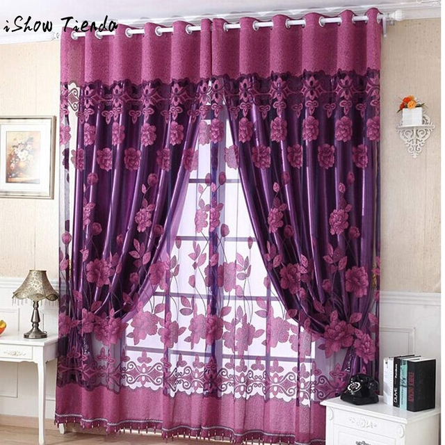 Exceptionnel 250cm*100cm Print Floral Voile Door Curtain Window Room Curtain Divider  Scarf Coffee Hot Pink