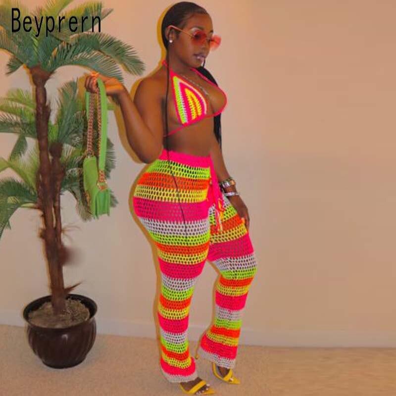 Beyprern Cute Rainbow Striped Crochet Pant Set Beachwear Sexy Bustier Crop Top And High Waist Fishnet Mesh Set Festival Outfits