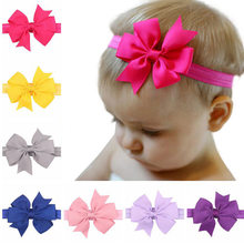 The European And American Style Baby Hair Band Big Bow Ribbon Dovetail Headband Baby Girl DIY Head Accessories Gift(China)