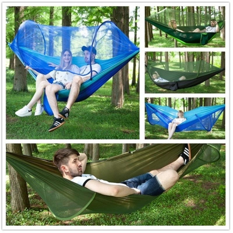 Outdoor Quick Pop-Up Portable Camping Hammock with Mosquito Double Parachute Hammocks Swing Sleeping Hammock Bed with Net Tent