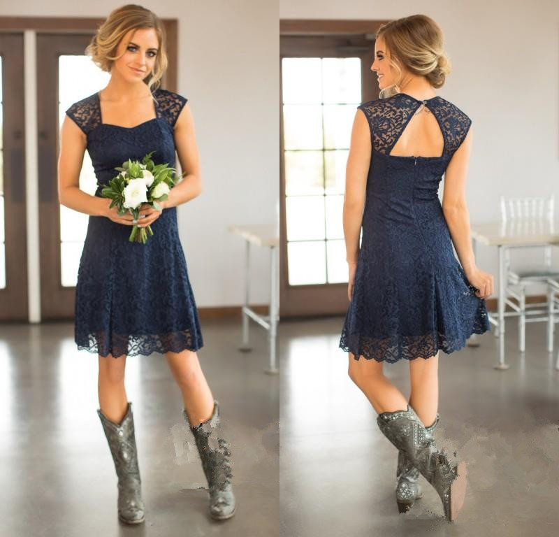 2019 Short Navy Blue Lace Bridesmaid Dresses Capped Sleeves Knee Length Maid of Honor Gowns Cheap