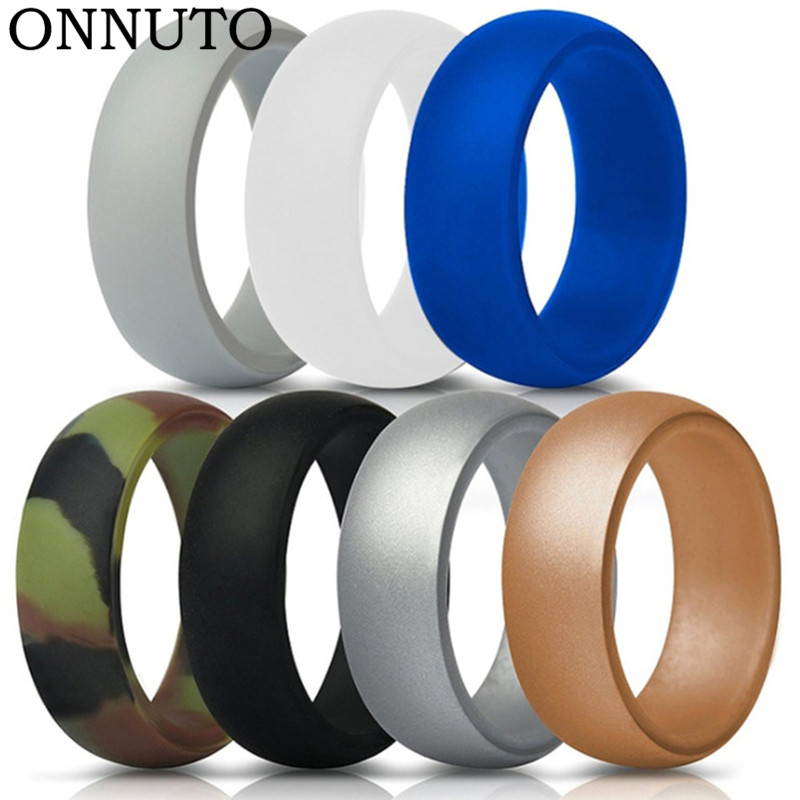 7 Colors Silicone Finger Ring Size 7-13 Flexible Hypoallergenic Crossfit Engagement Army Band Rubber Wedding Engagement Ring
