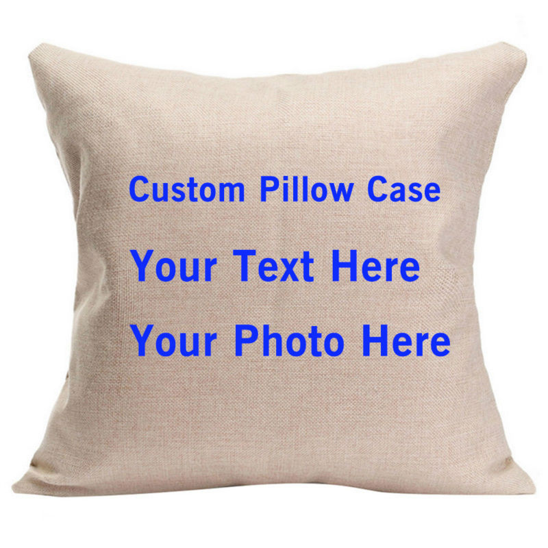 Personalized Text Custom Picture Cushion Cover DIY Photo Pillows Rectangle Pillowcase De ...